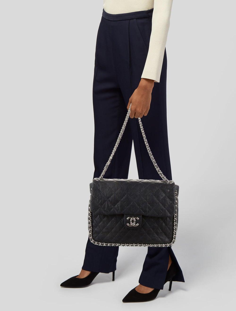 Chanel Chain Around Maxi Flap Bag Blue - image 2