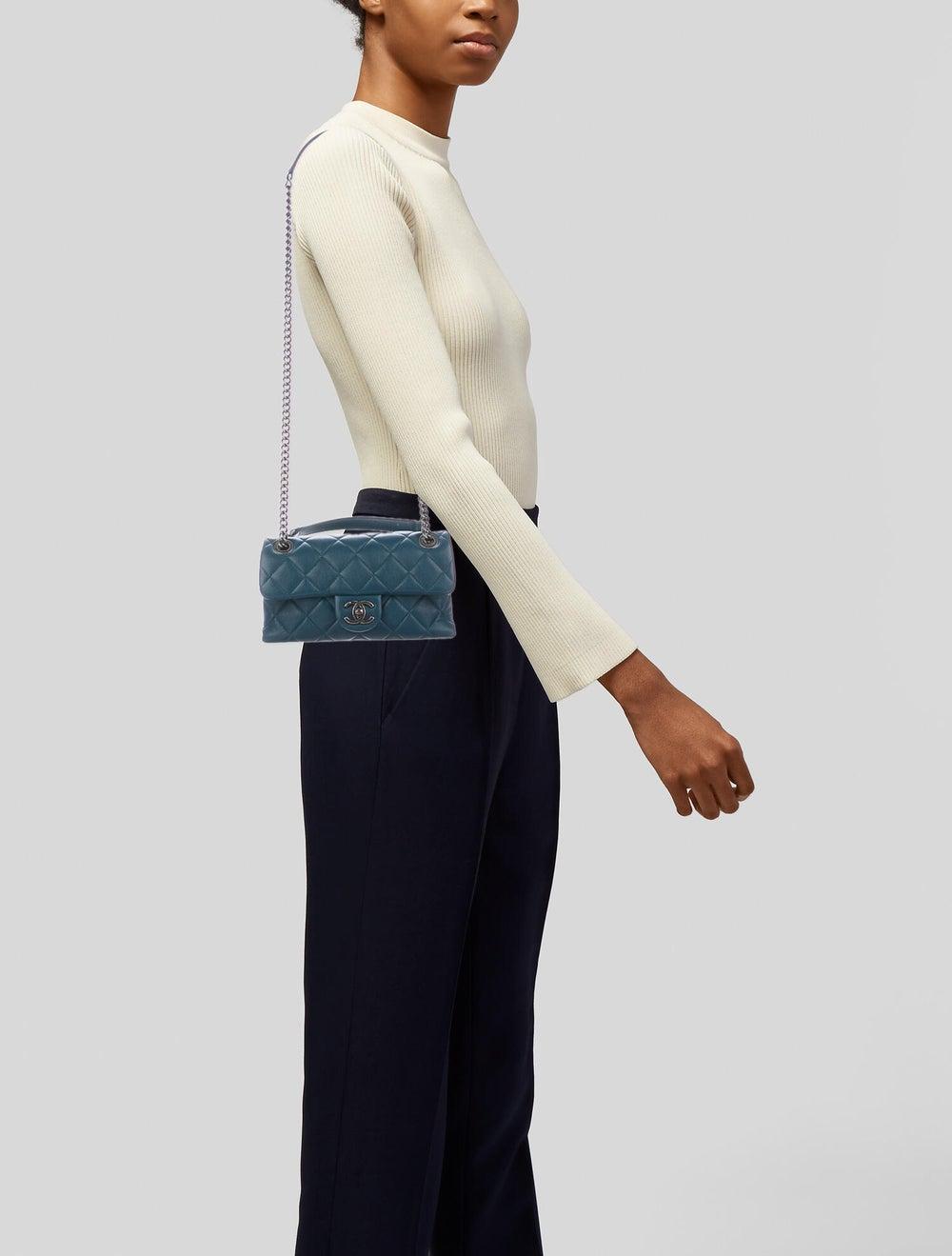 Chanel Small Burgundy Rocks Flap Bag Blue - image 2