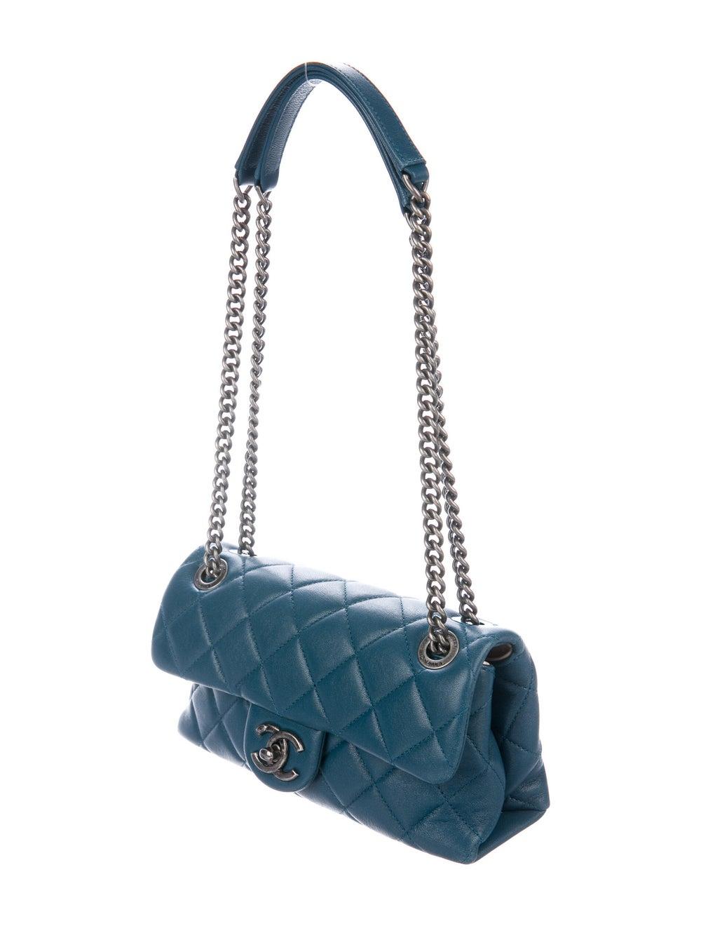 Chanel Small Burgundy Rocks Flap Bag Blue - image 3