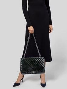 Chanel Chevron Single Flap Jumbo Patent Bag
