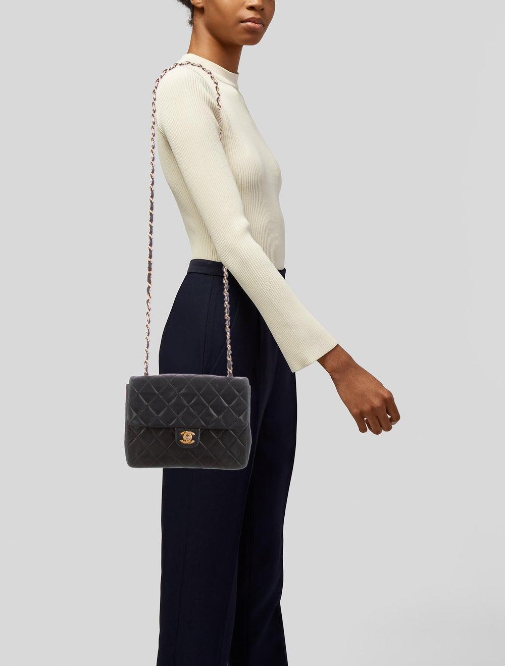 Chanel Vintage Classic Small Single Flap Bag Blue - image 2