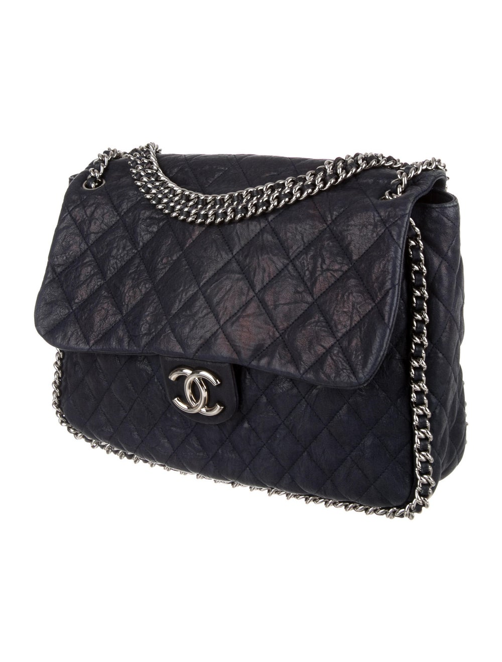 Chanel Maxi Chain-Around Flap Bag Blue - image 3