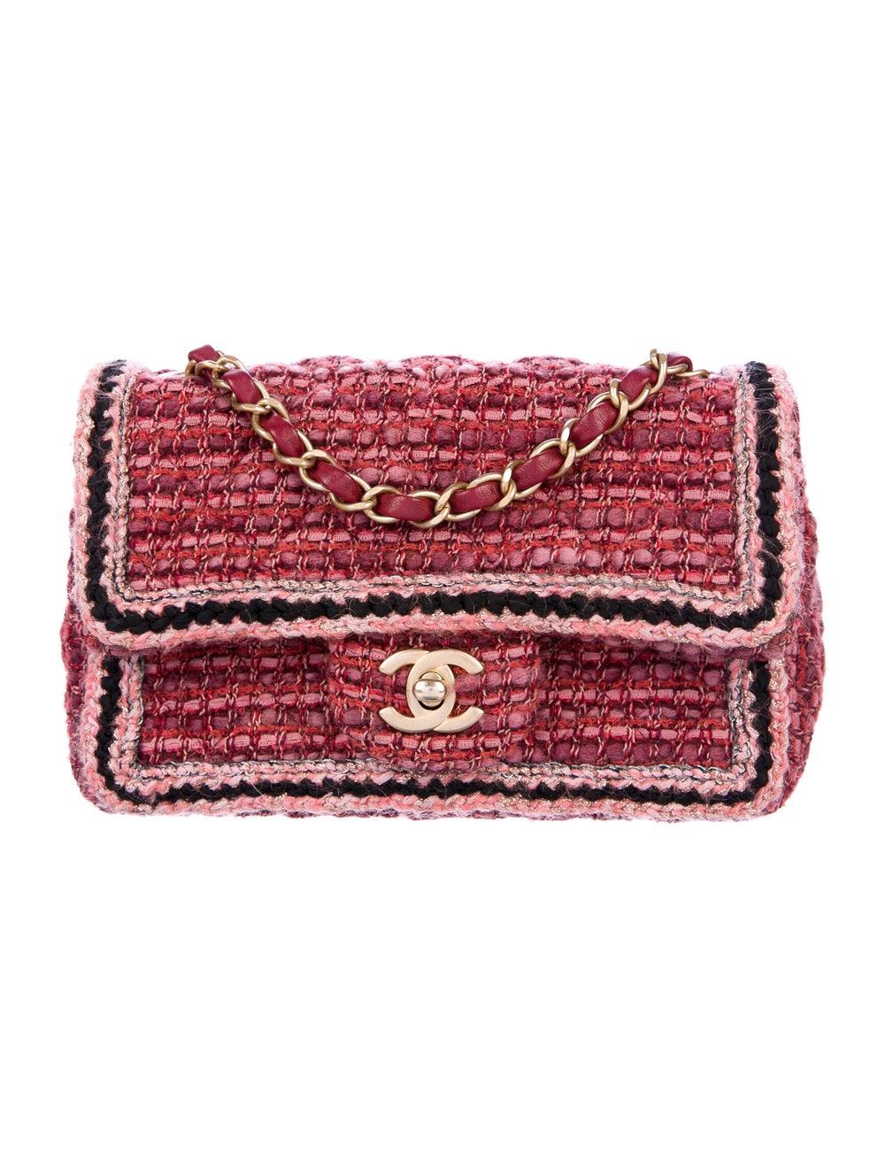 Chanel Tweed Braid Mini Flap Bag Red - image 1