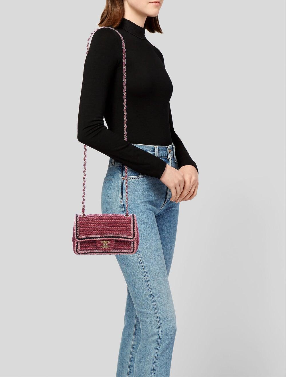 Chanel Tweed Braid Mini Flap Bag Red - image 2