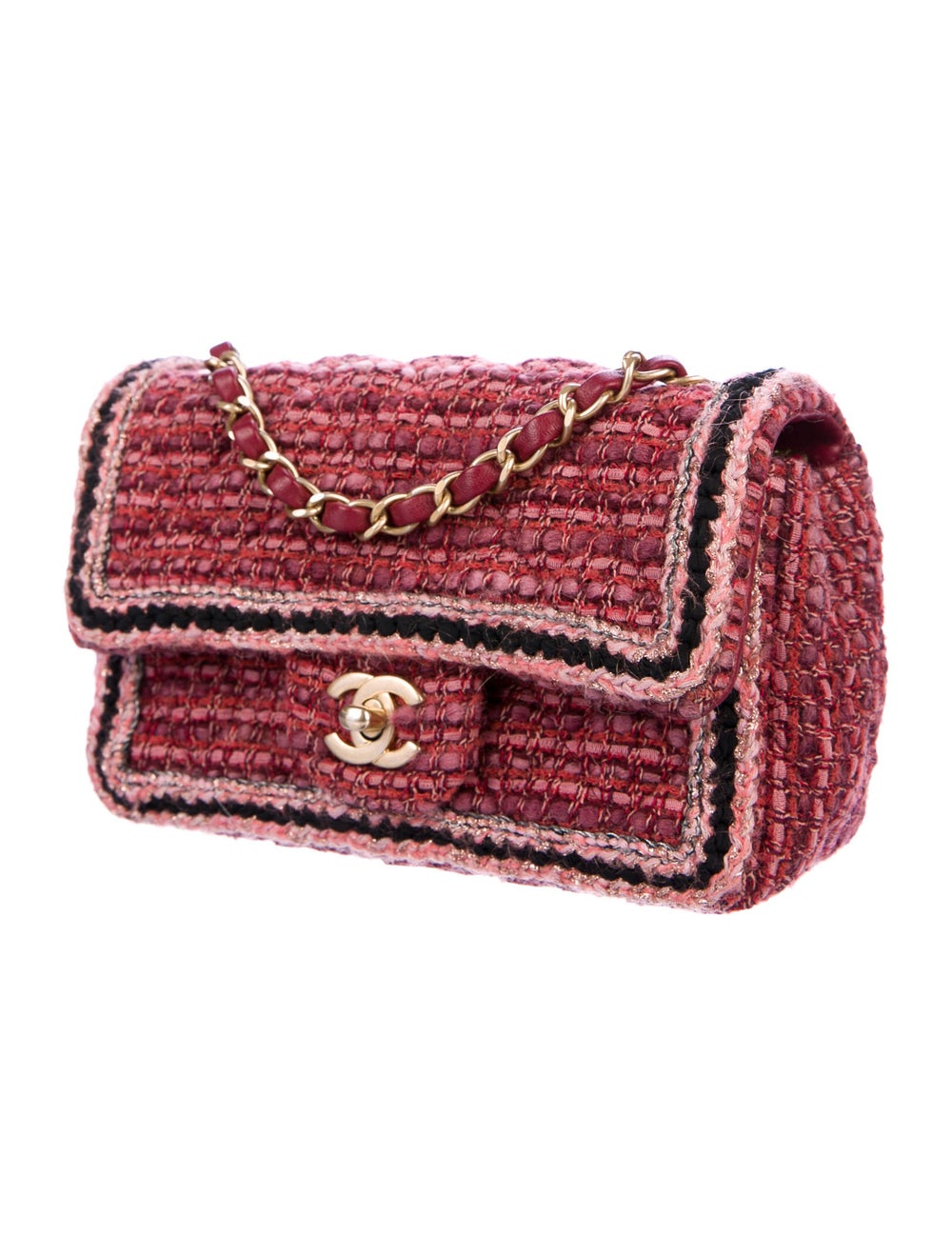 Chanel Tweed Braid Mini Flap Bag Red - image 3