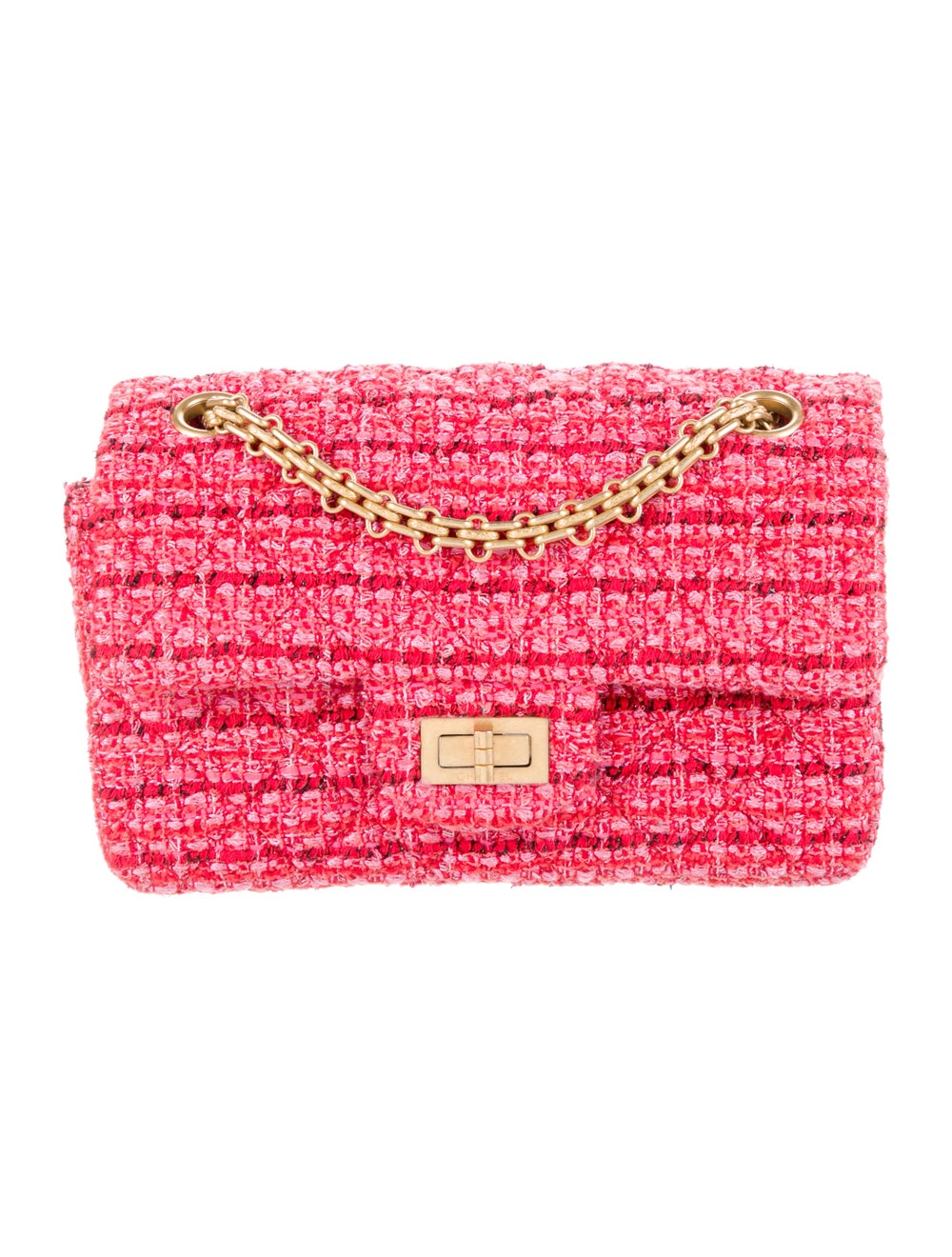Chanel Tweed Reissue Mini Flap Bag Red - image 1