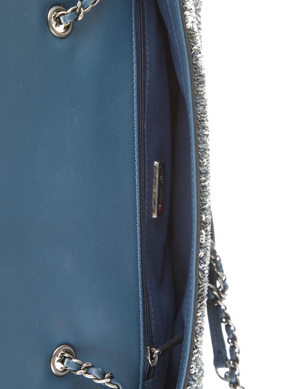 Chanel CocoCuba Sequin Flap Bag Blue - image 5