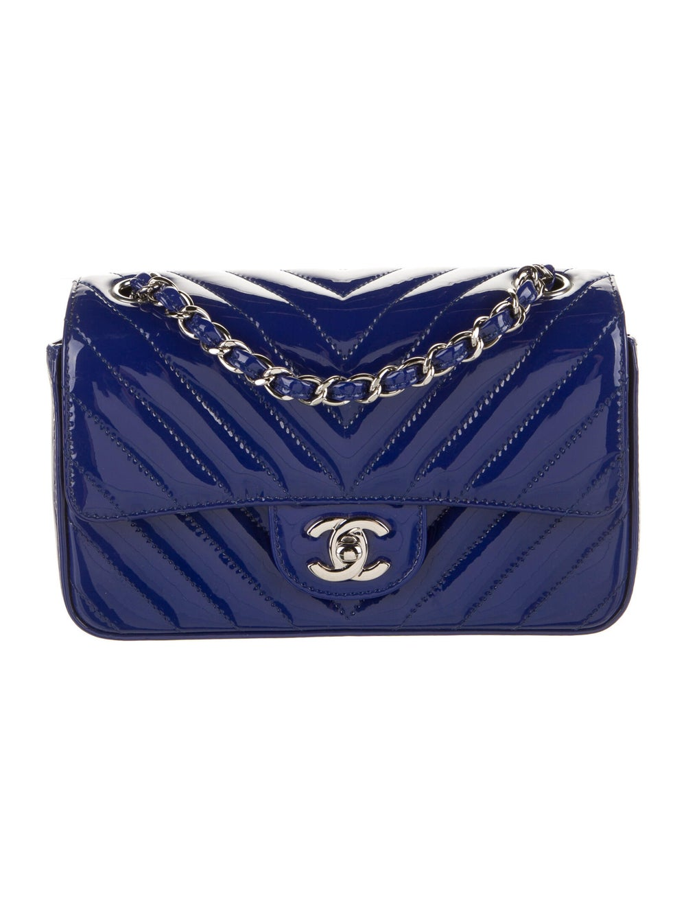 Chanel New Mini Chevron Flap Bag Blue - image 1
