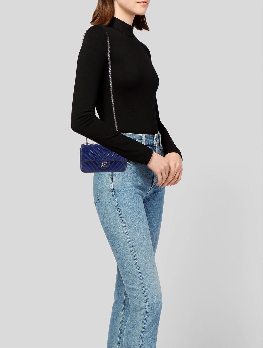 Chanel New Mini Chevron Flap Bag Blue - image 2