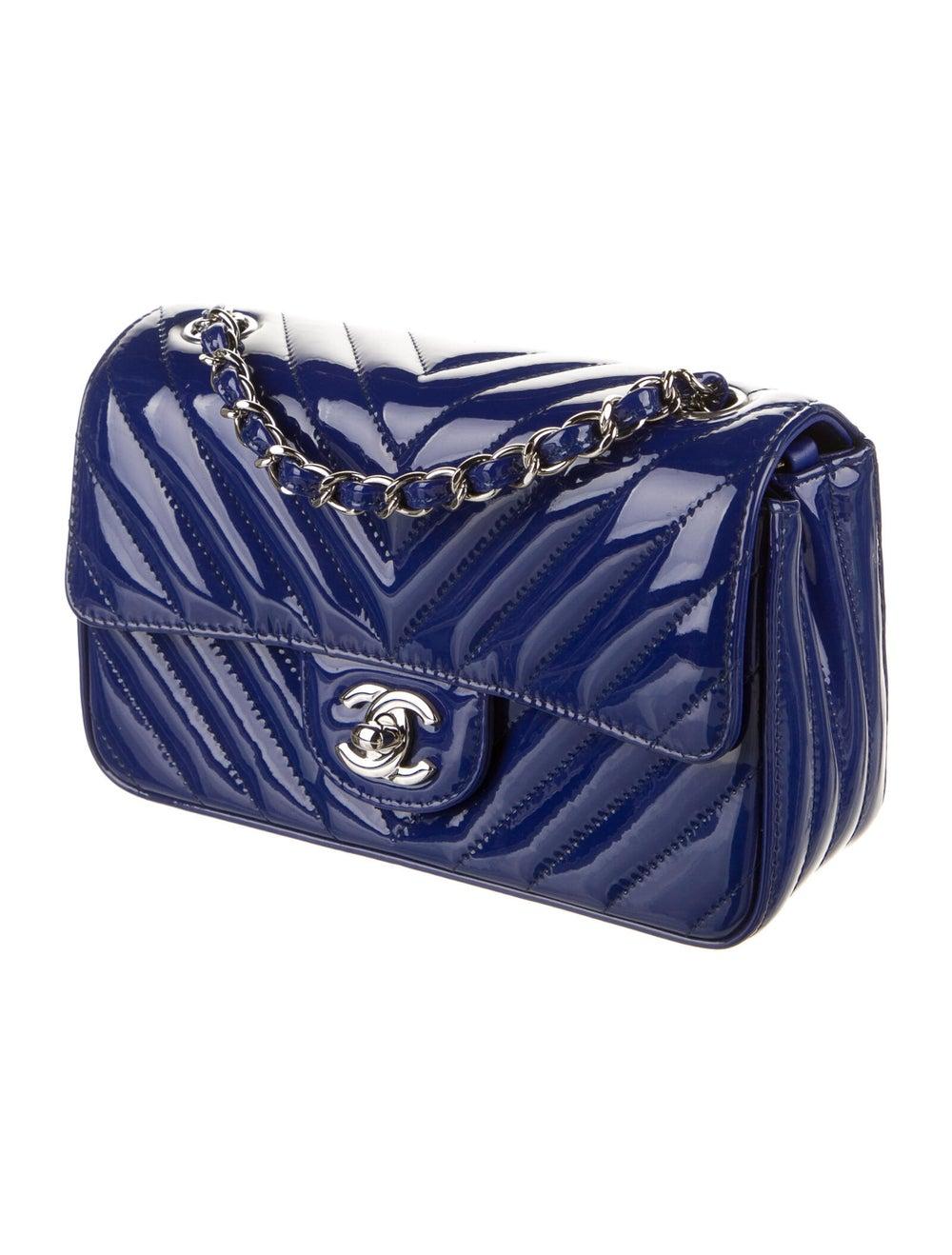 Chanel New Mini Chevron Flap Bag Blue - image 3