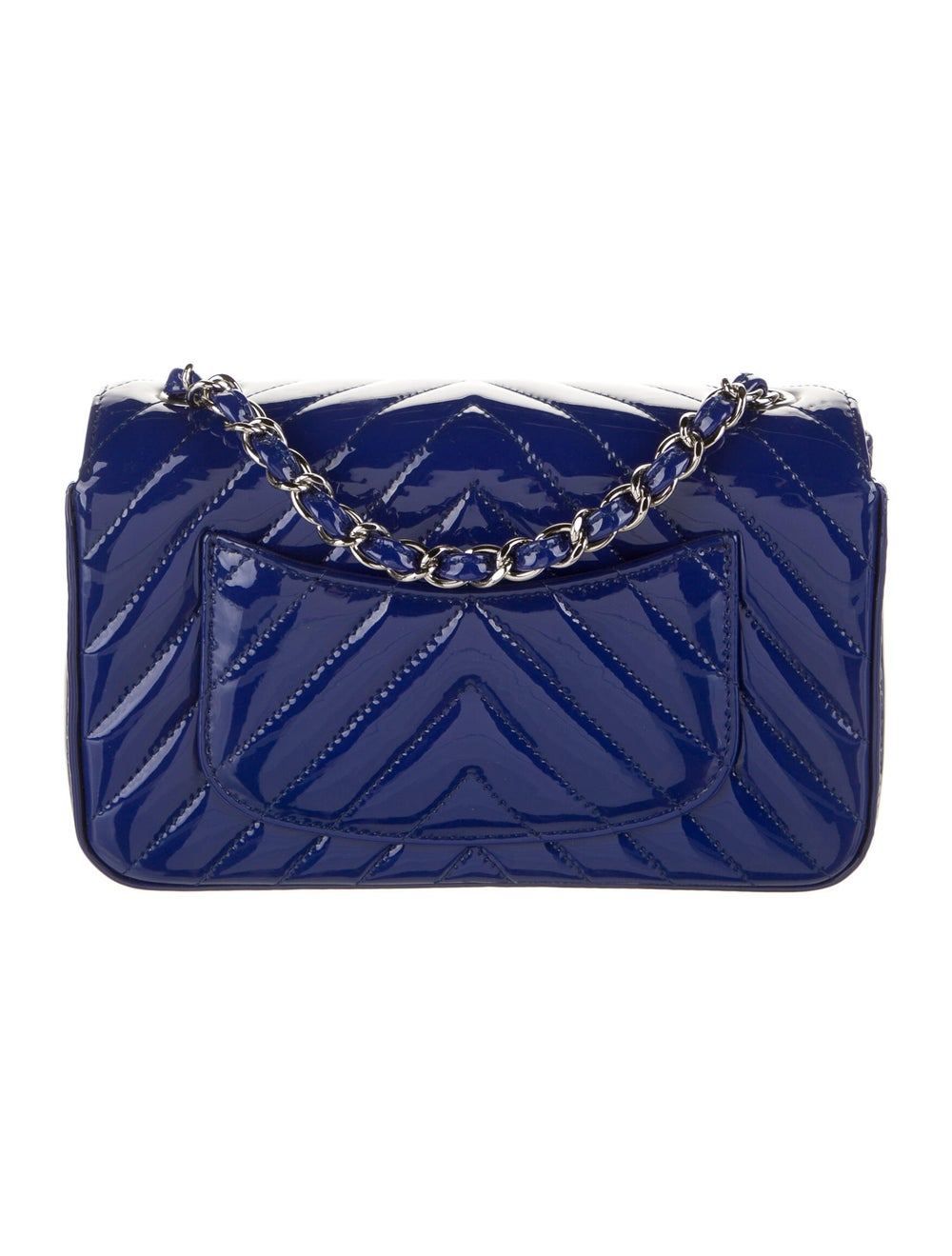 Chanel New Mini Chevron Flap Bag Blue - image 4