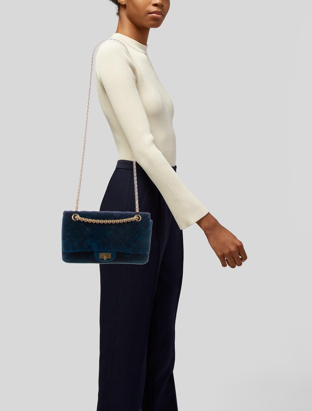 Chanel Velvet Reissue 225 Flap Bag Blue - image 2