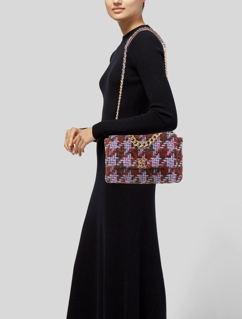 Chanel 2020 Large Tweed 19 Flap Bag Green - image 2