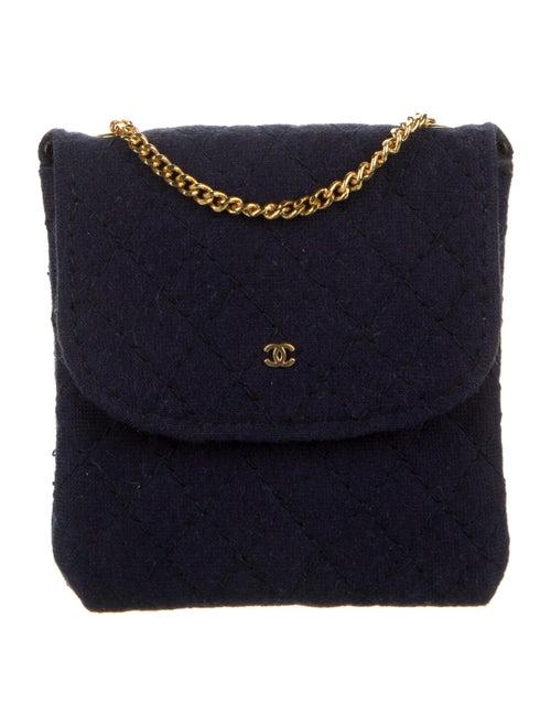 Chanel Vintage Jersey Micro Flap Bag Blue - image 1