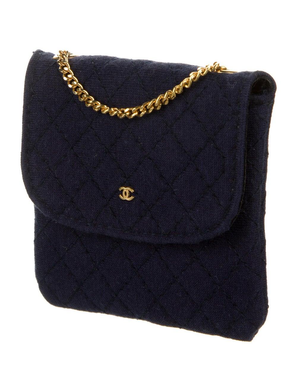Chanel Vintage Jersey Micro Flap Bag Blue - image 3