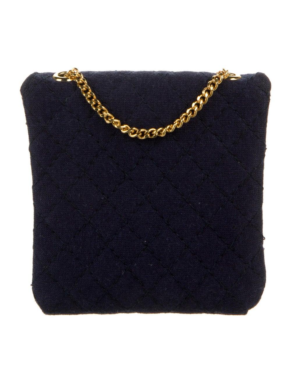 Chanel Vintage Jersey Micro Flap Bag Blue - image 4