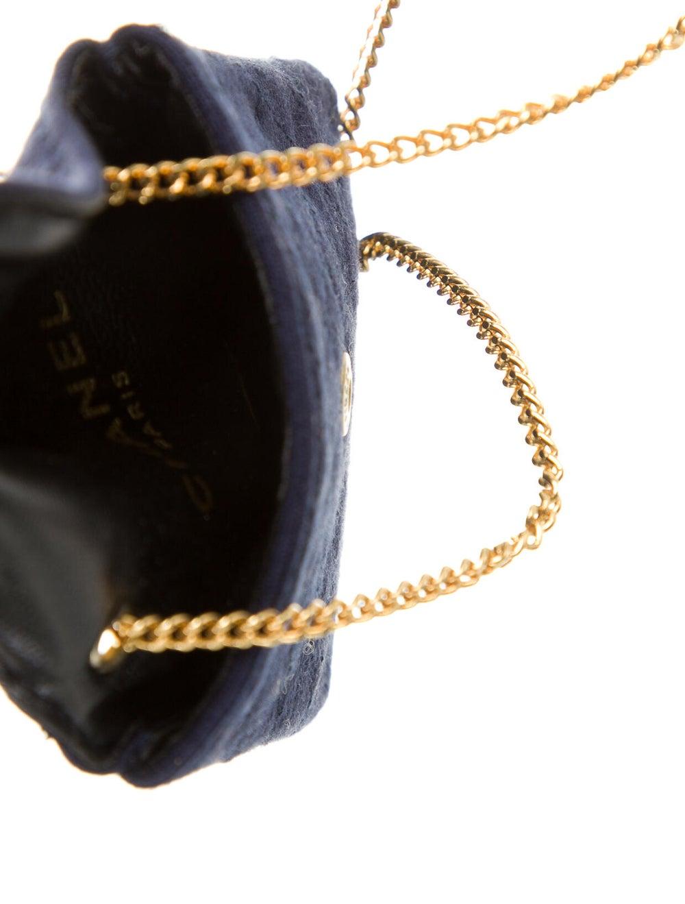 Chanel Vintage Jersey Micro Flap Bag Blue - image 5