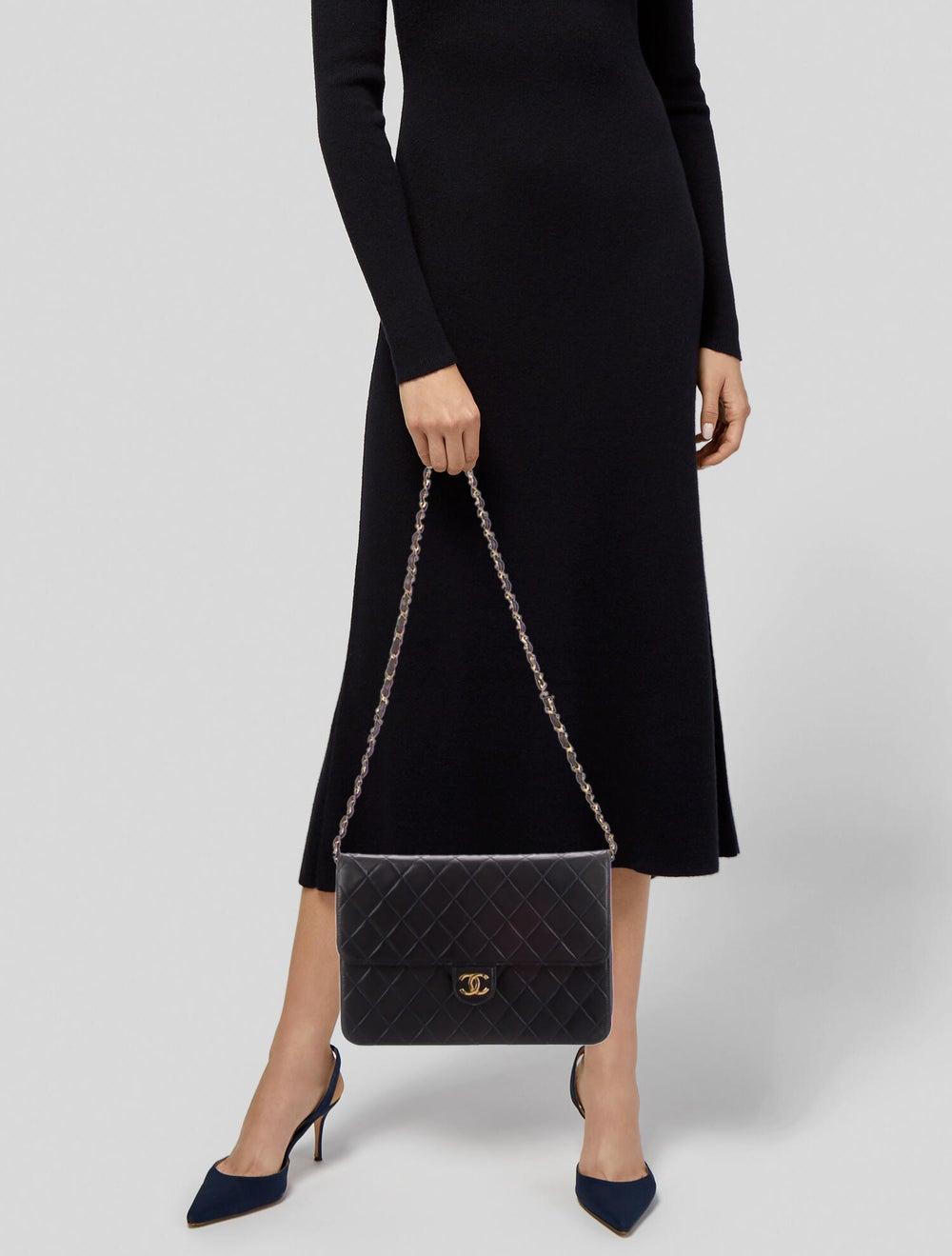 Chanel Vintage Single Flap Bag Blue - image 2