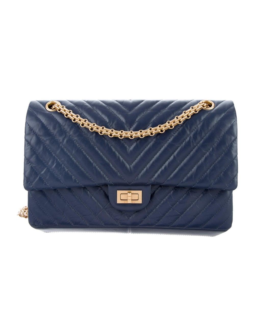 Chanel Chevron Reissue 226 Double Flap Bag Blue - image 1