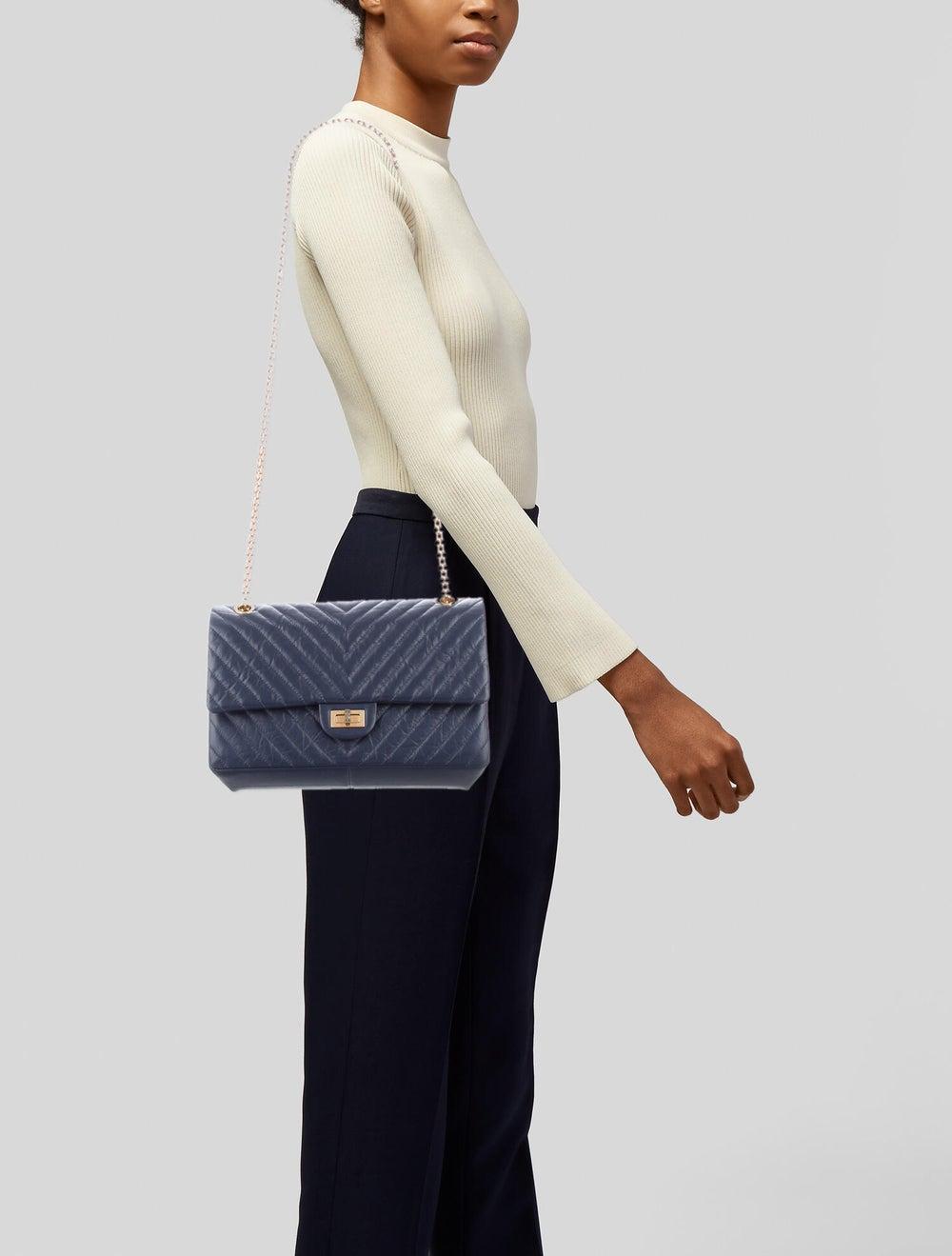 Chanel Chevron Reissue 226 Double Flap Bag Blue - image 2