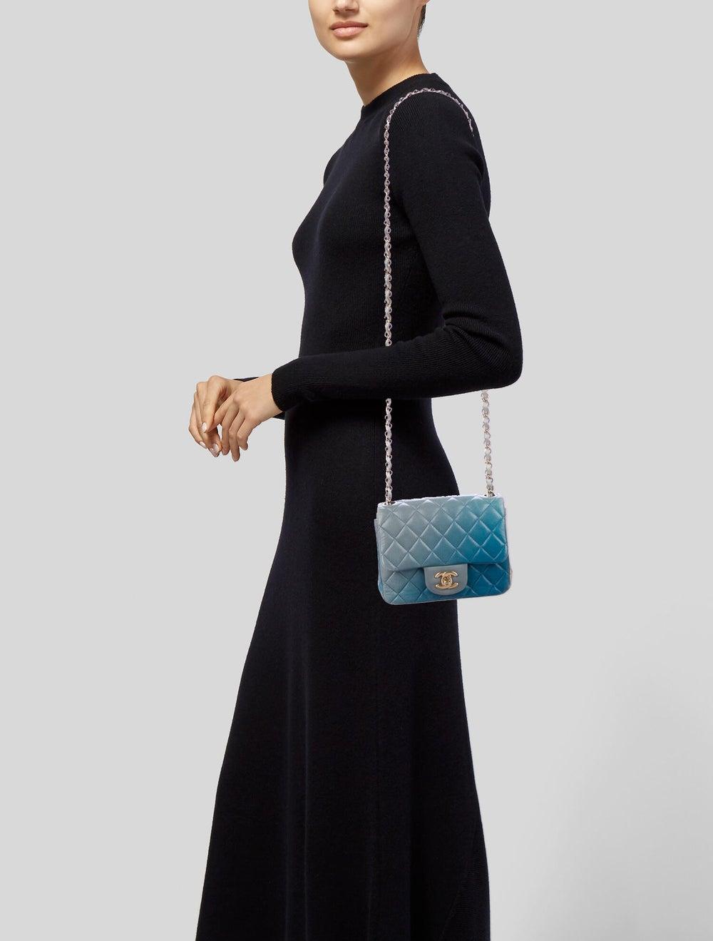 Chanel Classic Degradé Mini Square Flap Bag Blue - image 2