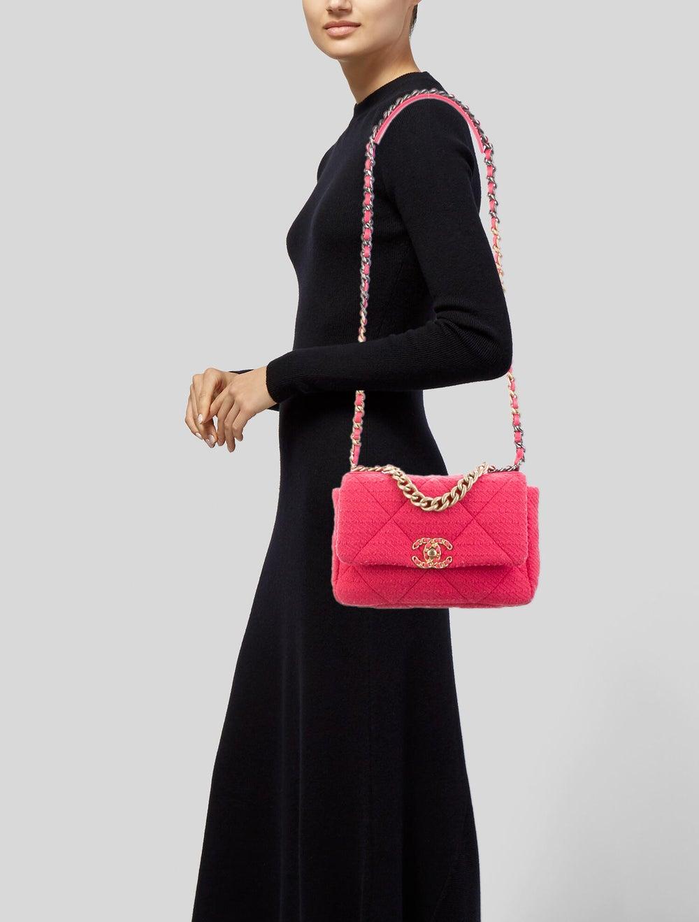 Chanel 2020 Medium Tweed 19 Bag Pink - image 2