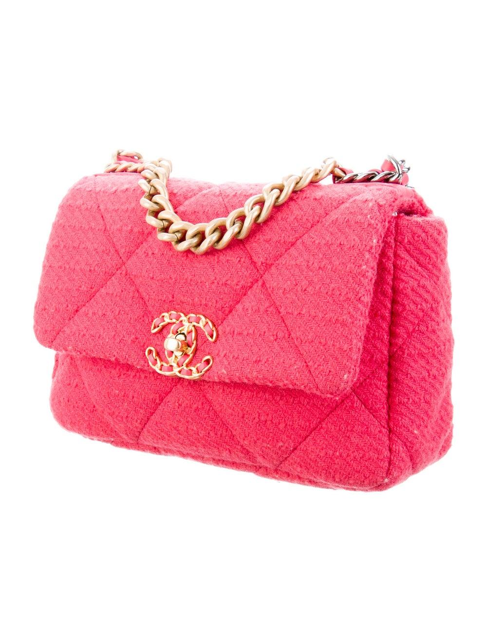 Chanel 2020 Medium Tweed 19 Bag Pink - image 3