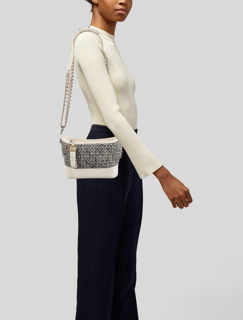Chanel Tweed Small Gabrielle Bag Blue - image 2