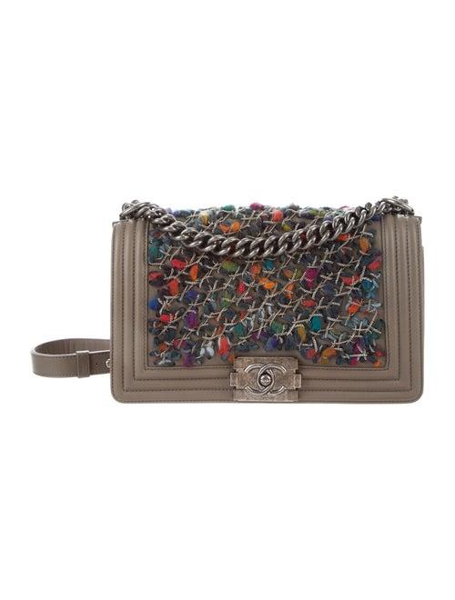 Chanel Medium Tweed Chain Boy Bag Brown - image 1