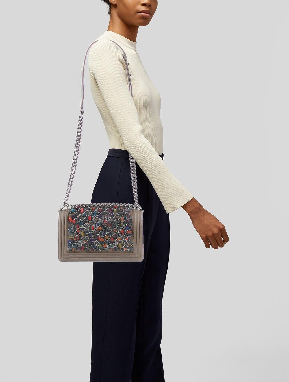 Chanel Medium Tweed Chain Boy Bag Brown - image 2