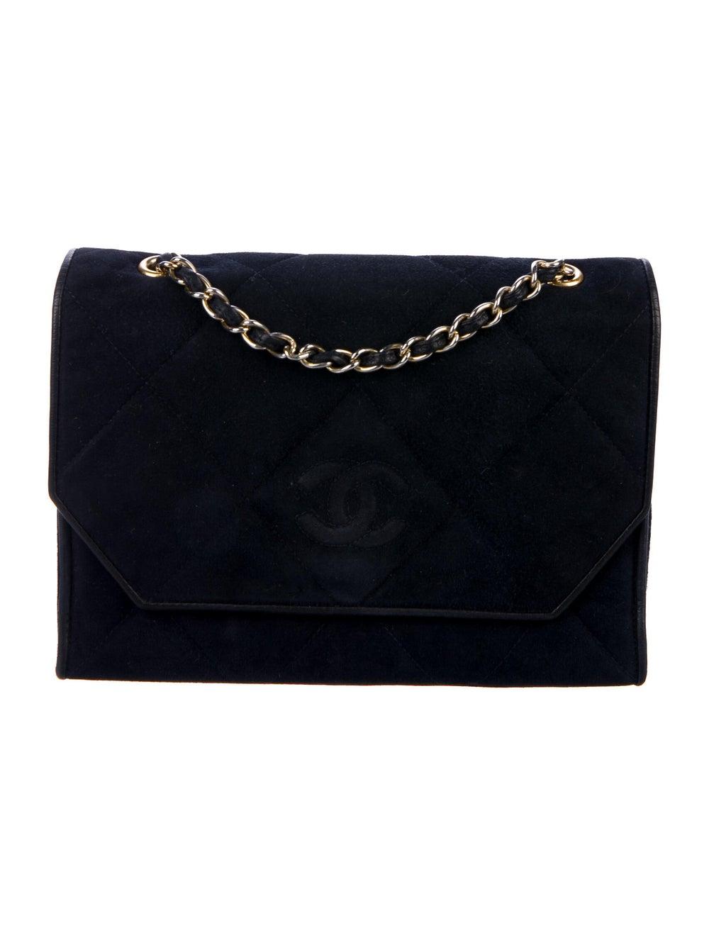 Chanel Vintage Quilted CC Flap Bag Blue - image 1