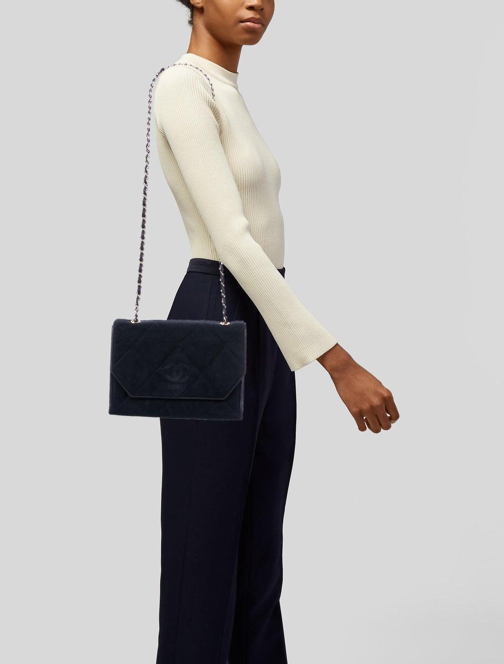 Chanel Vintage Quilted CC Flap Bag Blue - image 2