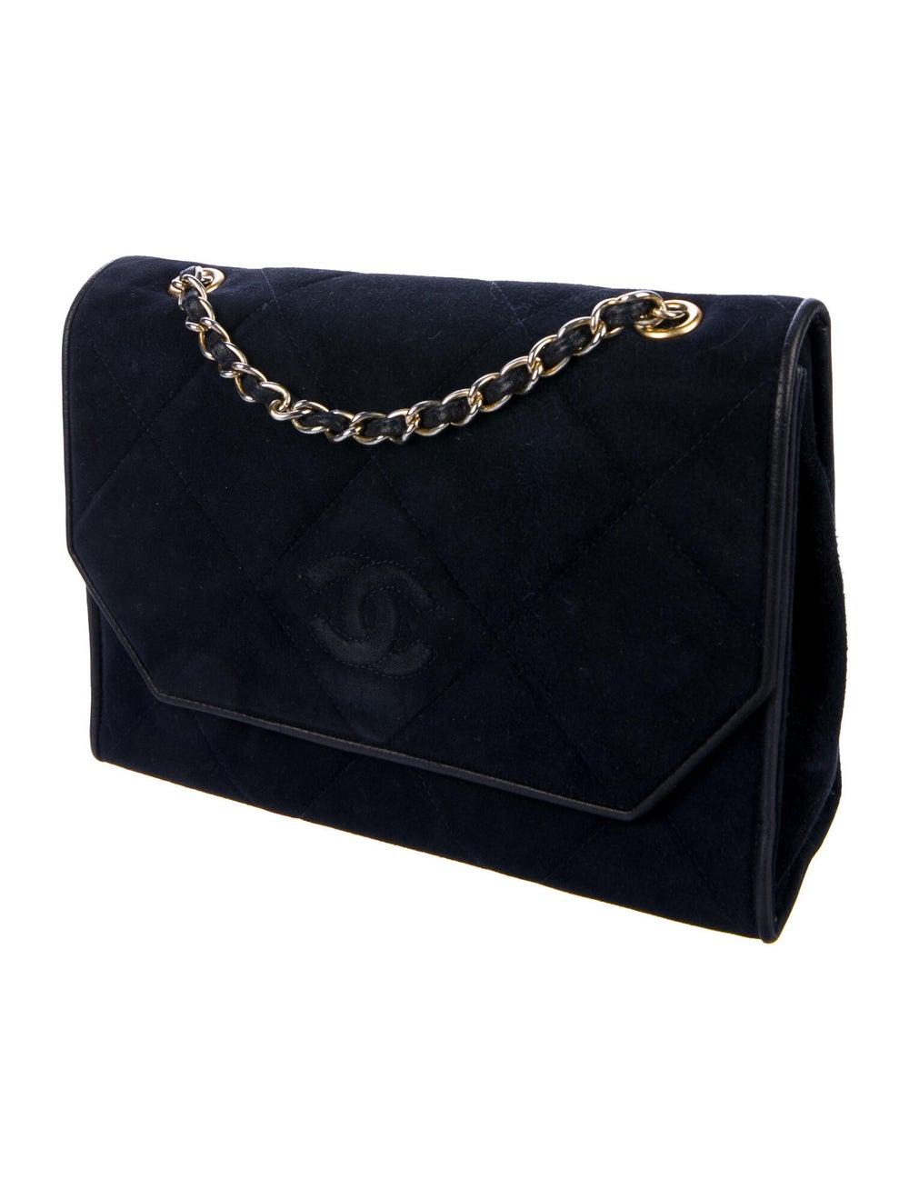 Chanel Vintage Quilted CC Flap Bag Blue - image 3