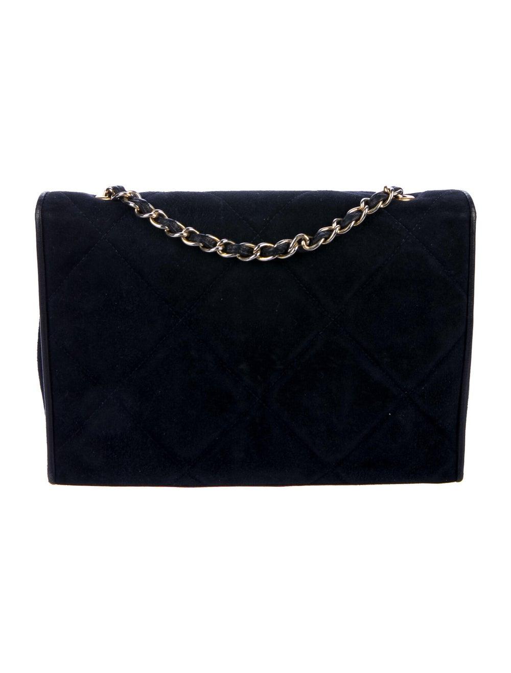Chanel Vintage Quilted CC Flap Bag Blue - image 4