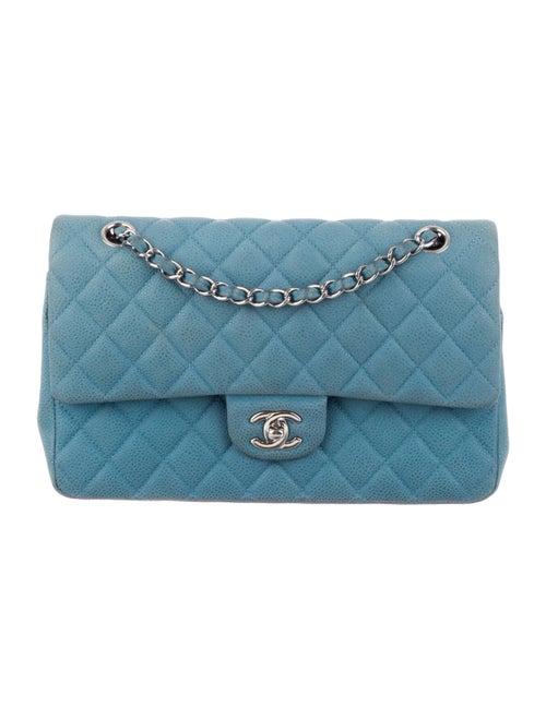 Chanel Nubuck Medium Classic Double Flap Bag Blue - image 1