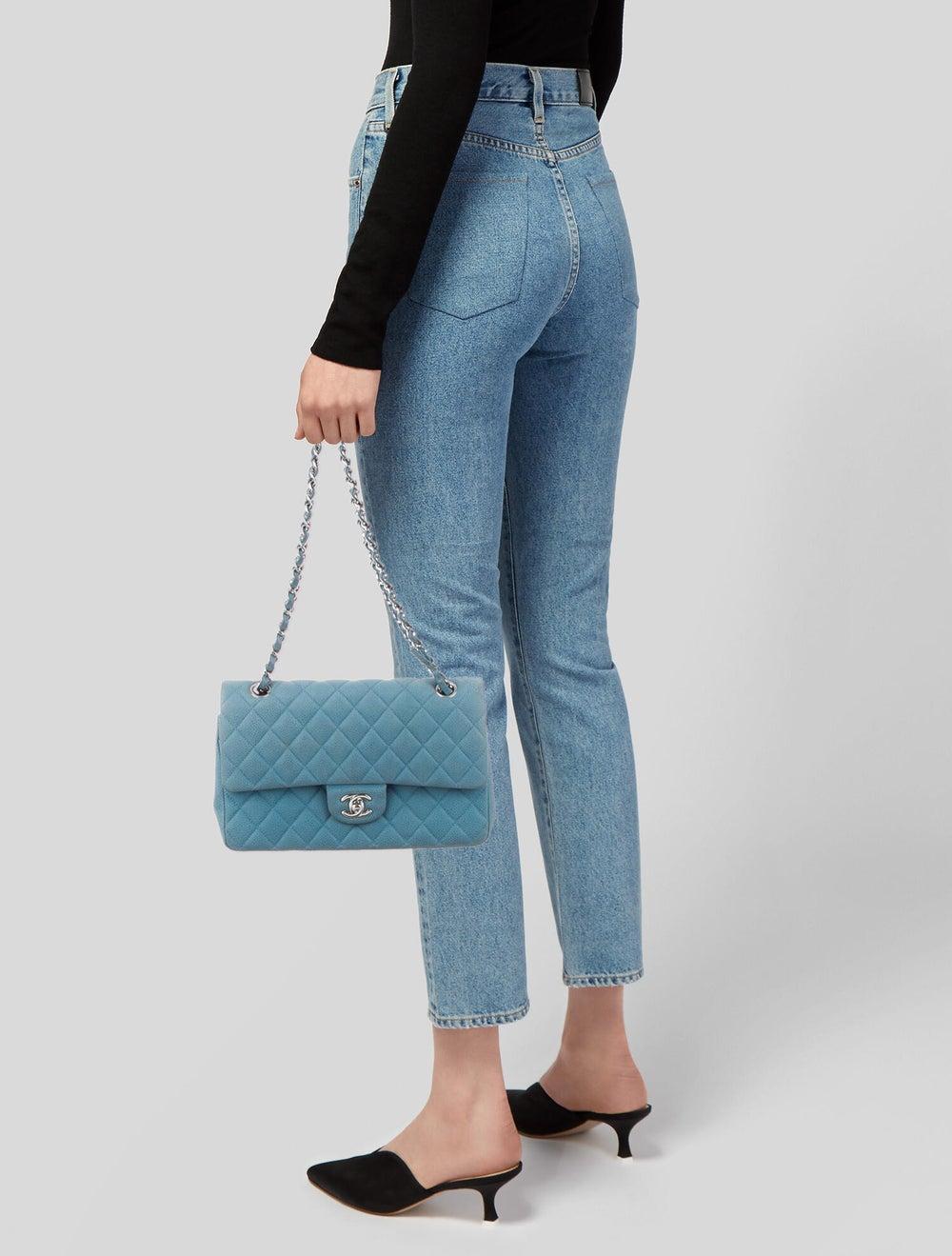 Chanel Nubuck Medium Classic Double Flap Bag Blue - image 2