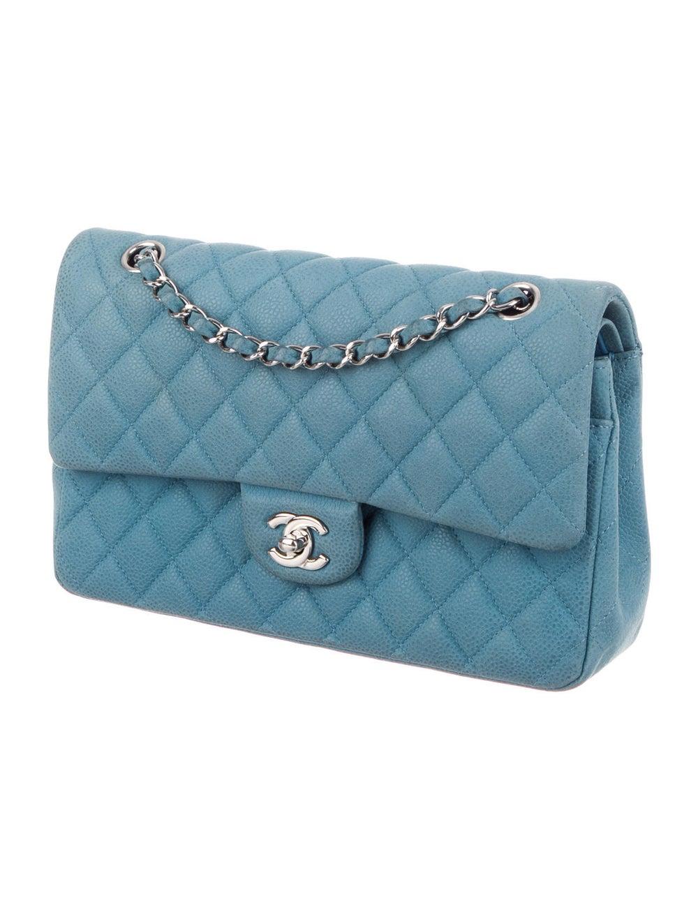 Chanel Nubuck Medium Classic Double Flap Bag Blue - image 3