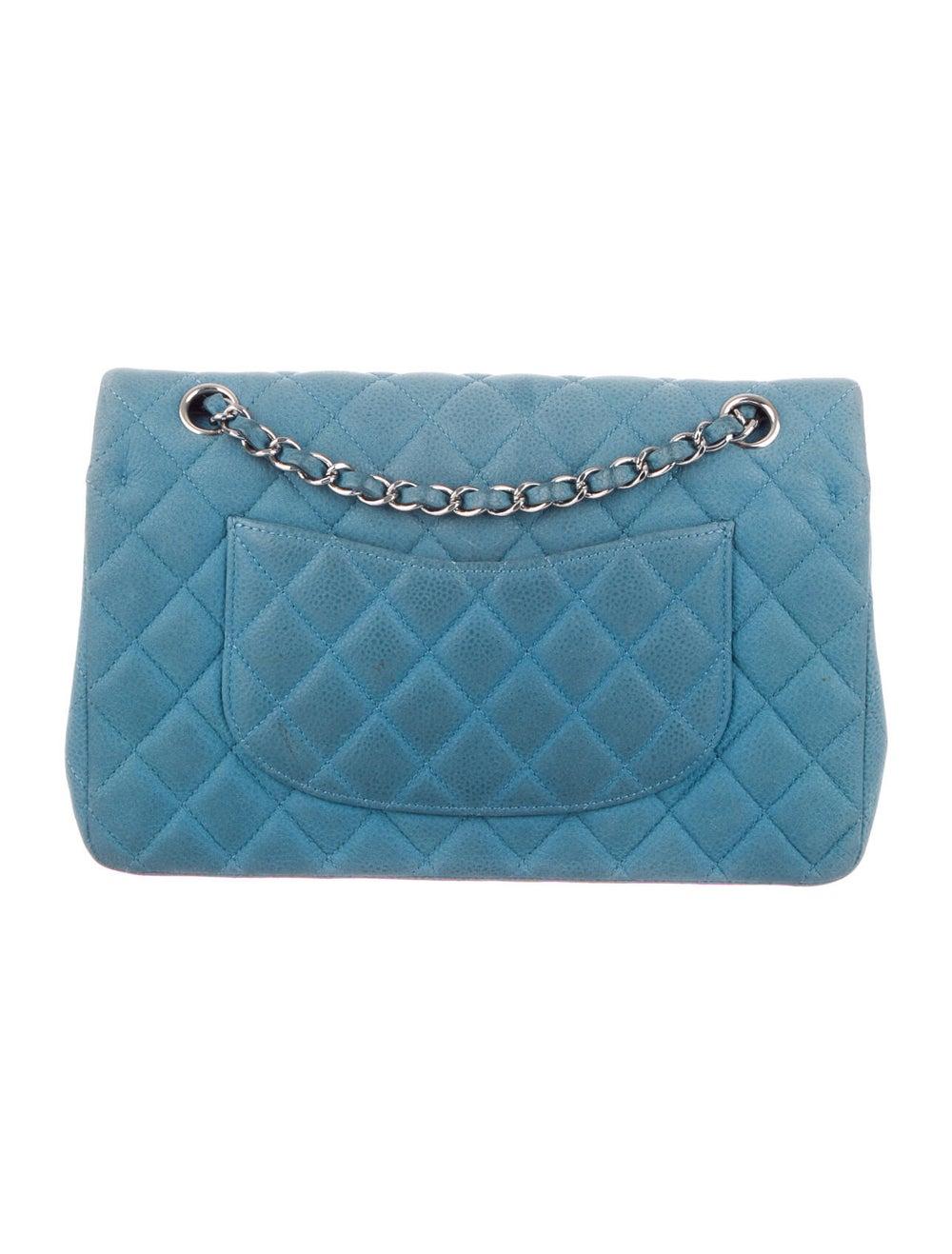 Chanel Nubuck Medium Classic Double Flap Bag Blue - image 4