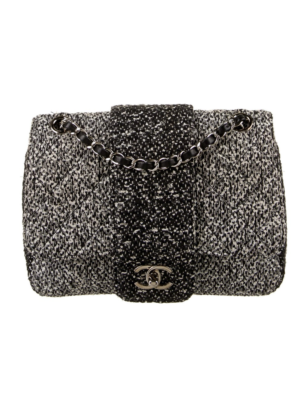 Chanel Tweed Elementary Chic Flap Bag Black - image 1