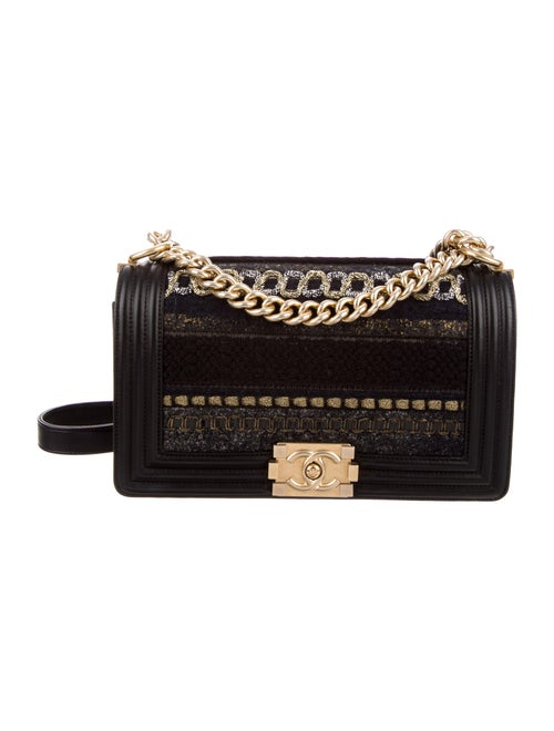 Chanel Medium Tweed Boy Bag Black - image 1
