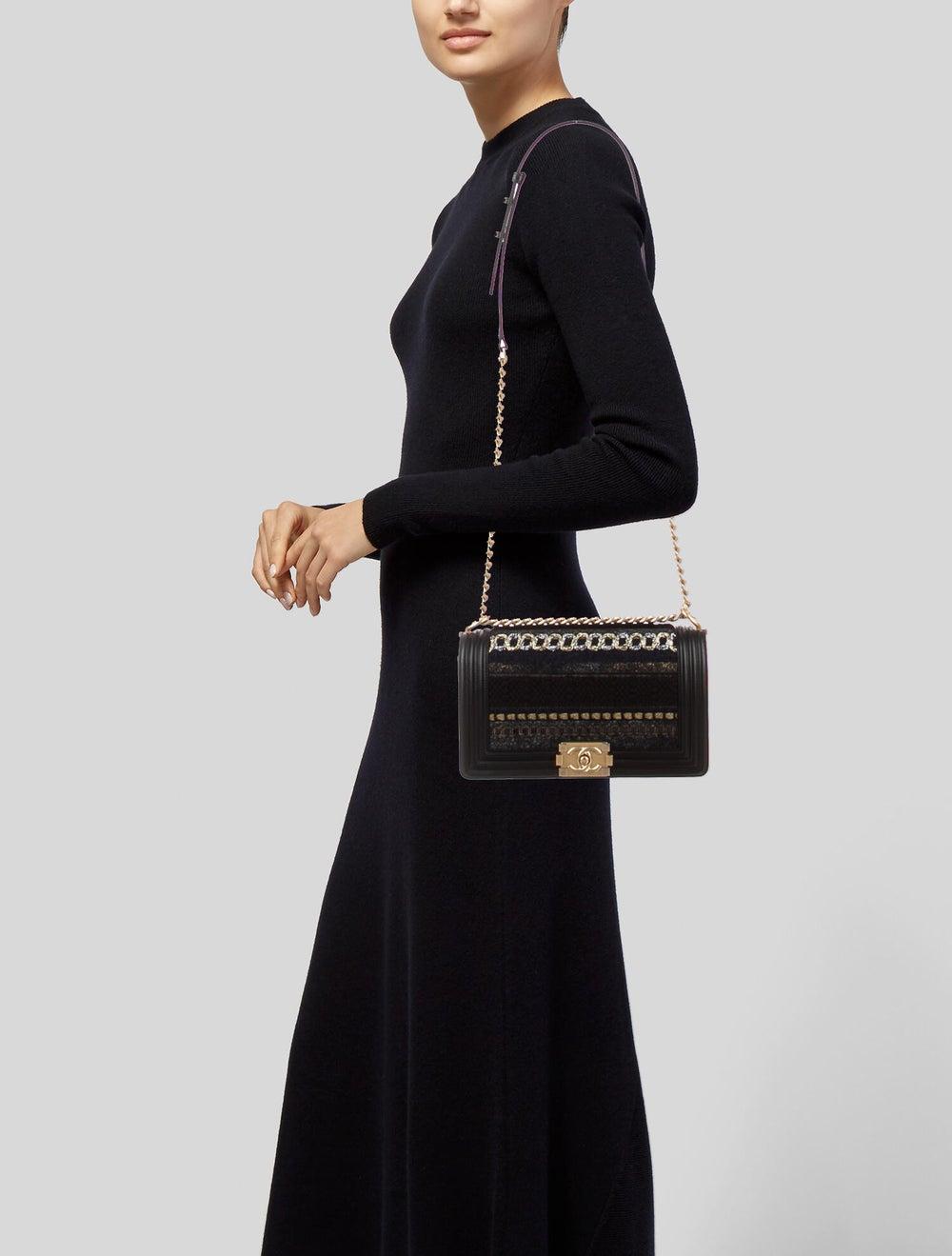 Chanel Medium Tweed Boy Bag Black - image 2