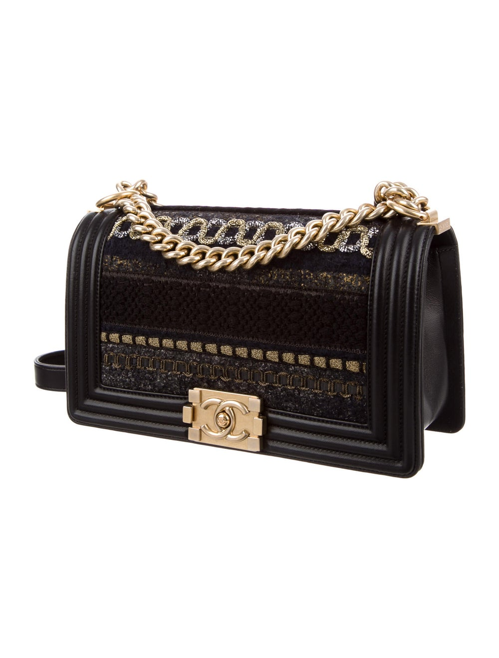 Chanel Medium Tweed Boy Bag Black - image 3