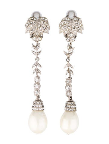 Embellished Pearl Drop Earrings