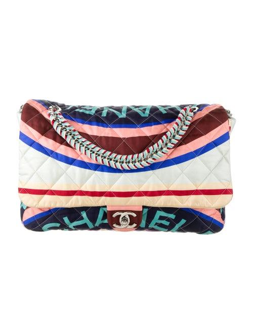 Chanel Large Fabric Foulard Flap Bag Blue - image 1