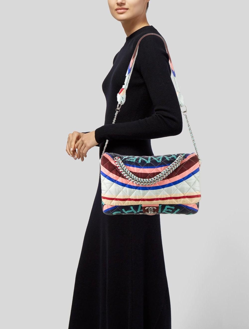 Chanel Large Fabric Foulard Flap Bag Blue - image 2