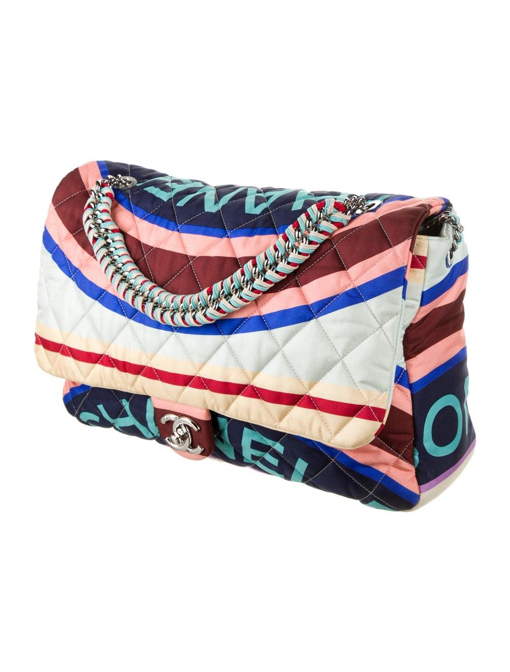 Chanel Large Fabric Foulard Flap Bag Blue - image 3