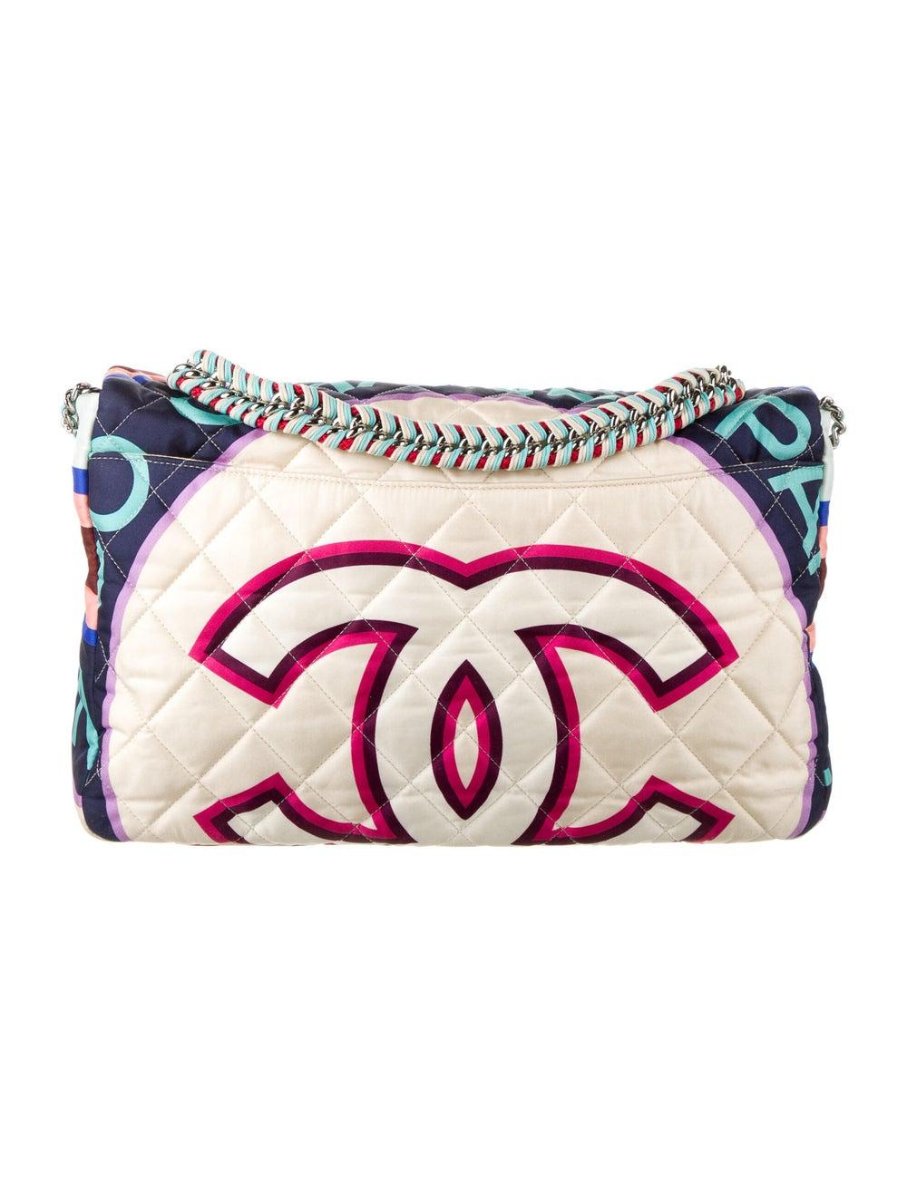 Chanel Large Fabric Foulard Flap Bag Blue - image 4