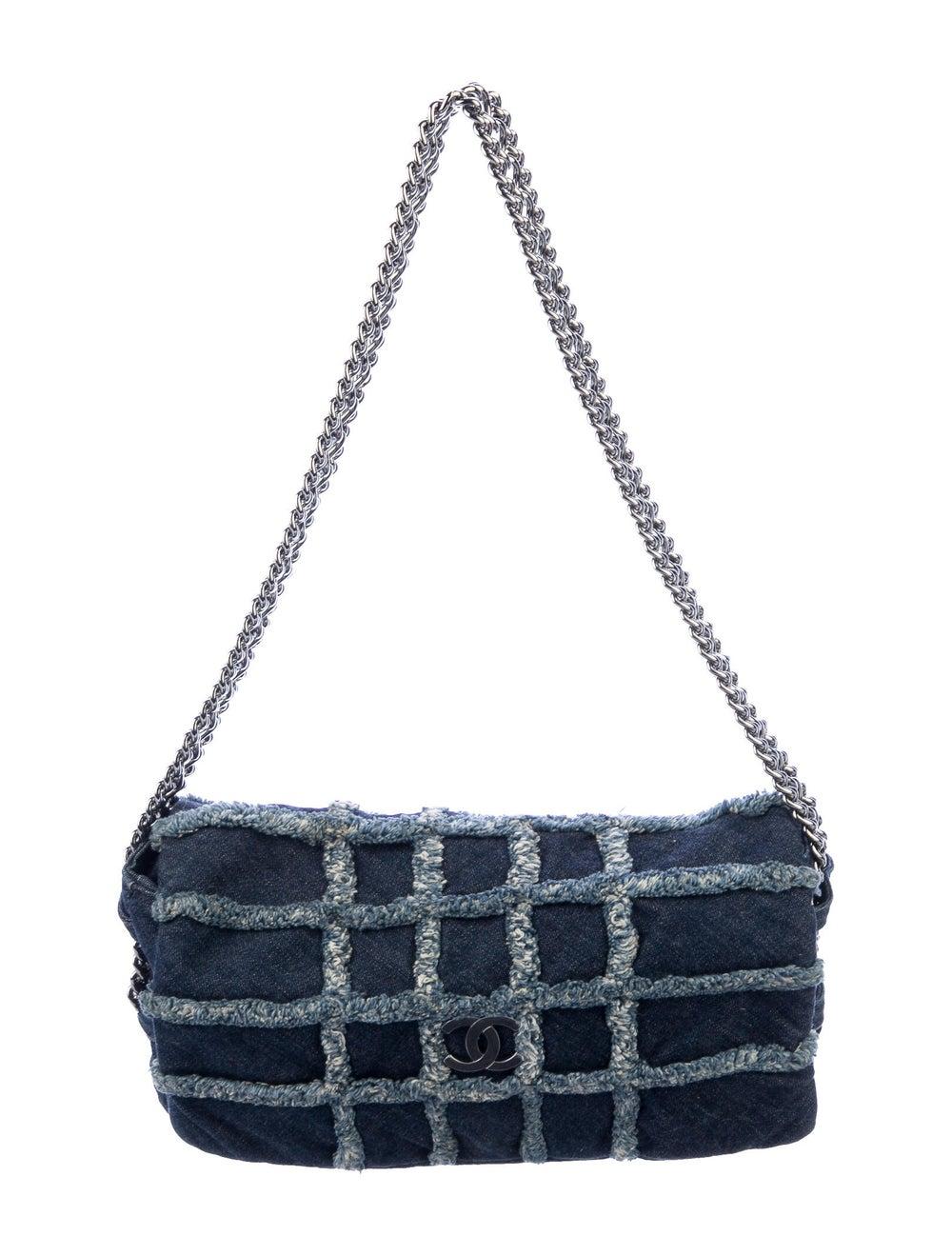 Chanel E/W Denim Flap Bag Blue - image 1