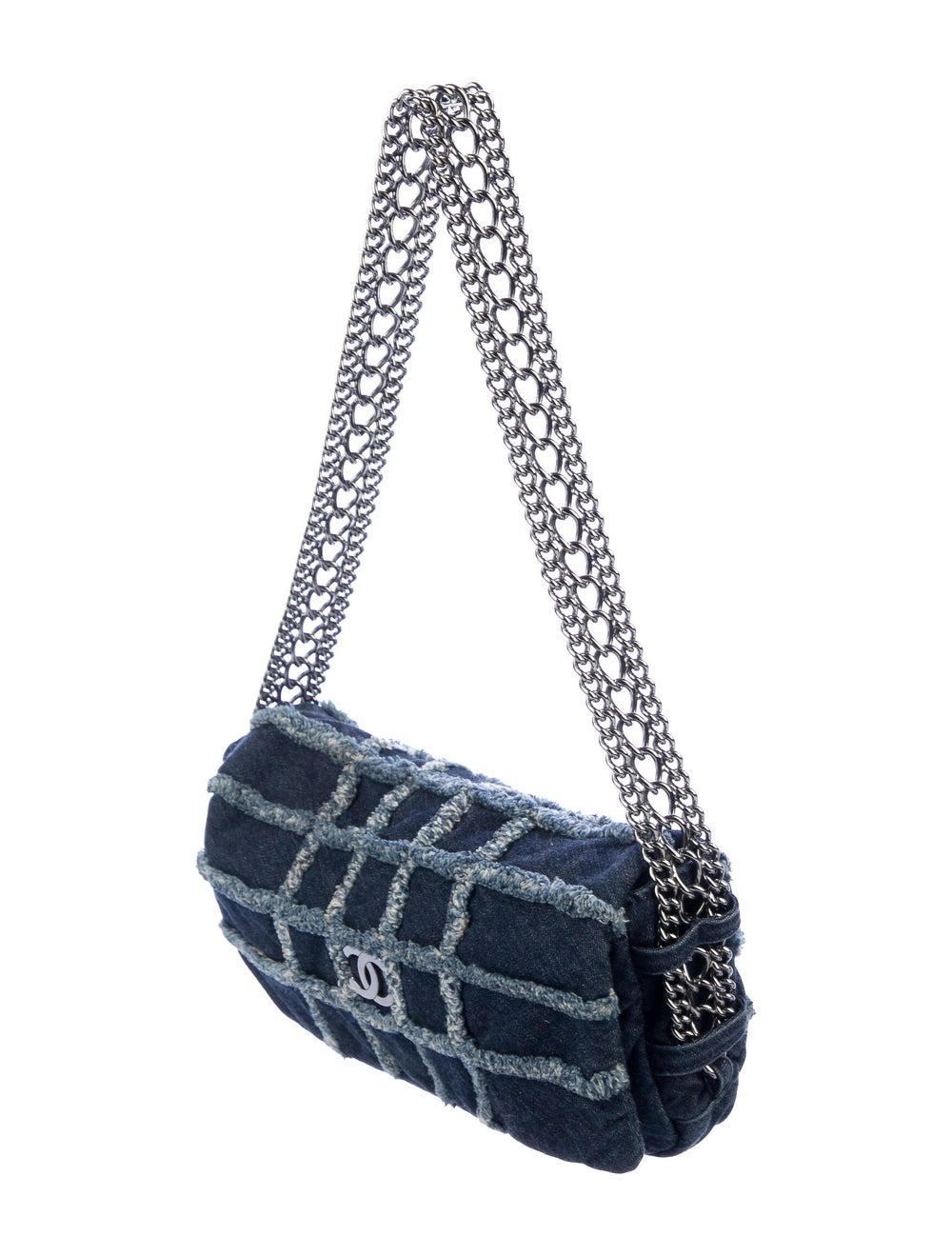 Chanel E/W Denim Flap Bag Blue - image 3
