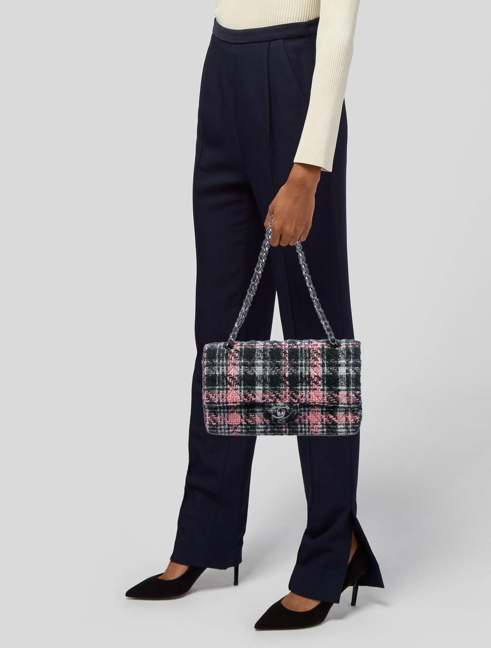 Chanel Medium Tweed Classic Double Flap Bag Blue - image 2